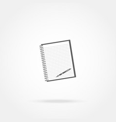 Icon notebook and pen vector