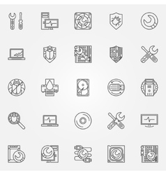 Computer service icons vector