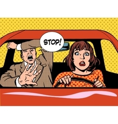Stop woman driver driving school panic calm vector