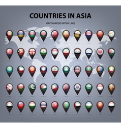 Map markers with flags - asia original colors vector