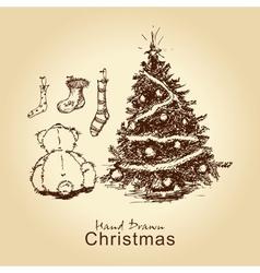 teddy and christmas tree vector image