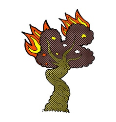 Comic cartoon burning old tree vector