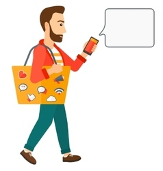 Man walking with smartphone vector