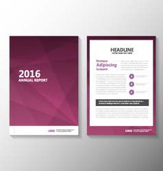 Purple annual report leaflet brochure set vector
