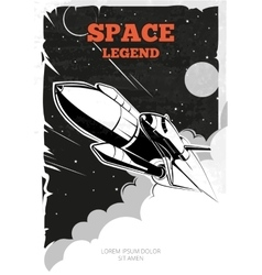 Vintage space poster with shuttle vector