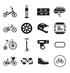 Biking icons set simple style vector