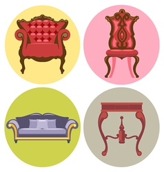 Furniture set flat style sofa chair table bed vector