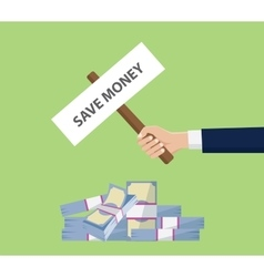 Save money investment money stack cash with hand vector