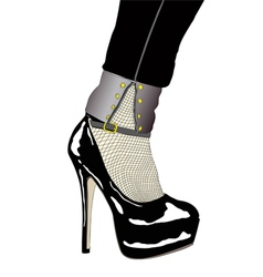 A woman with sensual shoe and fishnet stockings vector