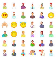 avatar icons set cartoon style vector image vector image