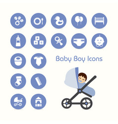 baby boy on stroller and icons set vector image