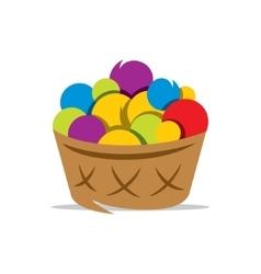 Basket with yarn cartoon vector