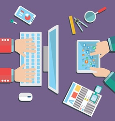 Business meeting and brainstorming Flat design vector image