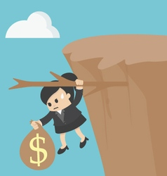 Business woman fiscal cliff concept vector