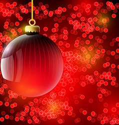 Christmas background with red ball vector image vector image