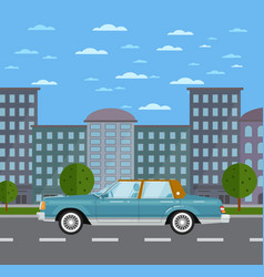 classic retro sedan in urban landscape vector image
