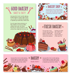 Desserts and cakes for bakery menu template vector