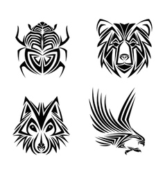 eagle wolf bear bug tattoo design vector image vector image