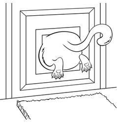 Fat cat stuck coloring book vector