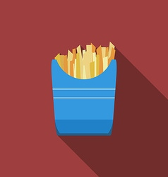 Flat design fried potato icon with long shadowFlat vector image vector image