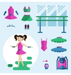 Girl dancer and items vector