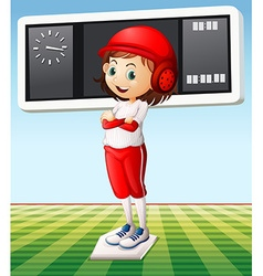 Girl in baseball outfit in the field vector