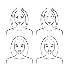 Hand drawn women face vector image vector image