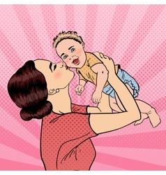 Happy Mother Kissing Her Smiling Baby Boy Pop Art vector image