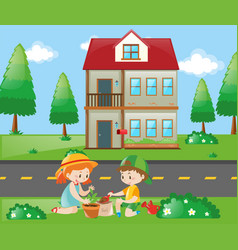Kids doing gardening at home vector