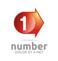 Number 1 figure arrow right red icon vector