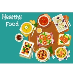 Popular dinner dishes icon for healthy food design vector