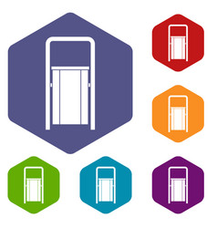 Public garbage bin icons set hexagon vector