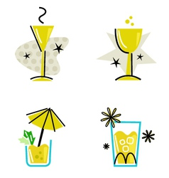 retro drinks collection vector image