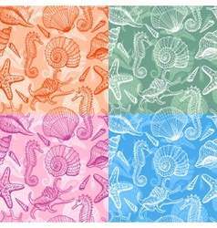 sea shells hand drawn seamless pattern vector image vector image