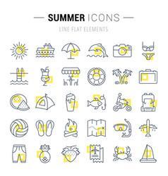 Set flat line icons summer vector