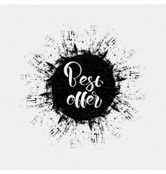 The best offer lettering on the ink blot vector image