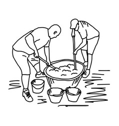 Two workers making cement mixing in construction vector