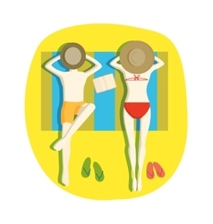 Couple on beach vector