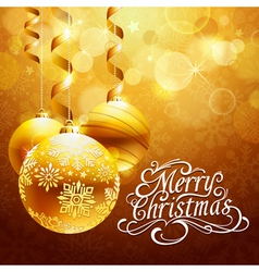 Christmas background with gold balls vector