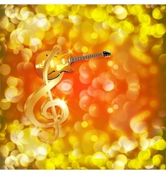Treble clef with jazz guitar on a bright vector