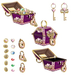Treasure chest with pink ornaments vector
