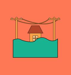 flat icon stylish background flood house vector image