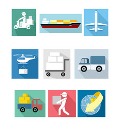 Nine delivery icons vector