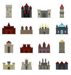 towers and castles icons set in flat style vector image