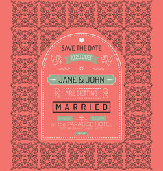 Vintage wedding invitation card template vector