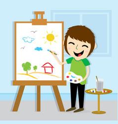 boy artist drawing cute cartoon design vector image
