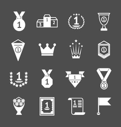 Set icons of awards prizes and trophy vector