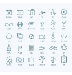 Travel logo icons set sea travel or vector