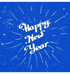Hand-drawn happy new year with ink beam over blue vector