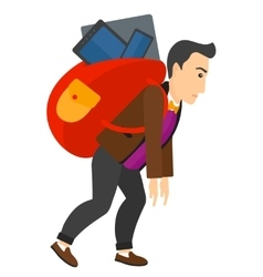 Man with backpack full of devices vector